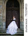 woman in white victorian dress... | Shutterstock . vector #752258923