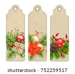 set of christmas vector tags or ... | Shutterstock .eps vector #752259517
