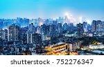 high rise mountain city night ... | Shutterstock . vector #752276347