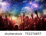 cheering crowd watching... | Shutterstock . vector #752276857