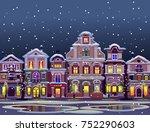 night winter town in snow | Shutterstock .eps vector #752290603