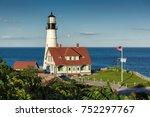 portland head lighthouse in... | Shutterstock . vector #752297767