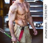 firefighter body  | Shutterstock . vector #752341987