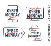 set of cyber monday sale design ... | Shutterstock .eps vector #752348797