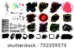 black paint  ink brush stroke ... | Shutterstock .eps vector #752359573