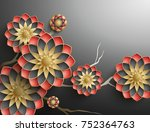 3d branches of colorful... | Shutterstock . vector #752364763