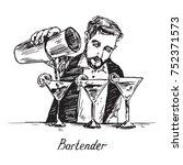 bartender at work  mixing... | Shutterstock .eps vector #752371573