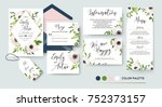 Wedding invite, menu, rsvp, thank you label save the date card Design with white, pink anemone flowers, green leaves greenery foliage bouquet & golden frame. Vector cute rustic delicate chic layout.   | Shutterstock vector #752373157
