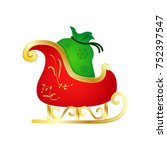 cartoon santa claus sleigh... | Shutterstock .eps vector #752397547