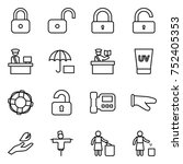 thin line icon set   lock ... | Shutterstock .eps vector #752405353