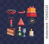 xmas symbols. gift  champagne ... | Shutterstock .eps vector #752422123