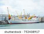 port cargo crane  ship and... | Shutterstock . vector #752438917