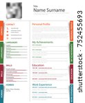professional resume cv with... | Shutterstock .eps vector #752455693