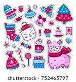 cute kitten  alpaca  christmas... | Shutterstock .eps vector #752465797
