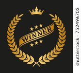winner golden laurel wreath on... | Shutterstock .eps vector #752496703