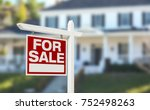 home for sale real estate sign... | Shutterstock . vector #752498263