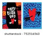 happy birthday lettering... | Shutterstock .eps vector #752516563