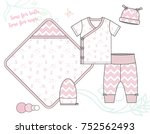 newborn baby girl fashion... | Shutterstock .eps vector #752562493