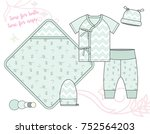 newborn baby unisex fashion... | Shutterstock .eps vector #752564203