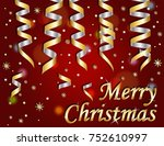 merry christmas on red... | Shutterstock .eps vector #752610997