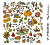 thanksgiving day  hand drawn... | Shutterstock .eps vector #752636113