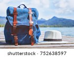 traveler backpack and hat ... | Shutterstock . vector #752638597