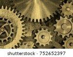 brass or bronze cog and gear... | Shutterstock . vector #752652397