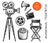 cinema and making films hand...   Shutterstock . vector #752678713
