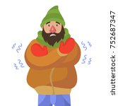 the man is shivering cold  | Shutterstock .eps vector #752687347
