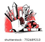 a bunch of firecrackers in the... | Shutterstock .eps vector #752689213