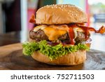 delicious organic burger with... | Shutterstock . vector #752711503
