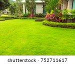 green lawn  the front lawn for... | Shutterstock . vector #752711617