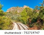 the old train rail in vouraikos ... | Shutterstock . vector #752719747
