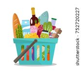grocery in a shopping basket.... | Shutterstock .eps vector #752720227