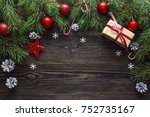 christmas background with... | Shutterstock . vector #752735167