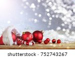 red christmas ornaments and... | Shutterstock . vector #752743267