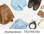 top view summer vintage clothes ... | Shutterstock . vector #752754733