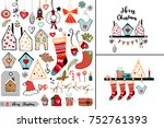 a set of different christmas... | Shutterstock .eps vector #752761393
