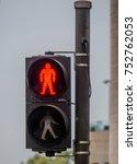 red traffic light in city street | Shutterstock . vector #752762053