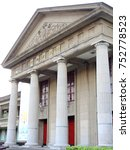 Small photo of Taipei,Taiwan-April 28,2017:European-style Zhongzheng Memorial Hall with a façade constructed by the Doric Columns and exquisitely carved mountain walls. in Banqiao 435 Art Zone