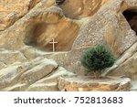wooden cross in cave. david... | Shutterstock . vector #752813683