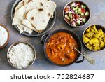 indian meal with chicken tikka... | Shutterstock . vector #752824687