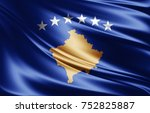 kosovo flag of silk 3d... | Shutterstock . vector #752825887