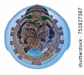 Small photo of small planet of Alassio with a bridge along the coast overlooking the Mediterranean Sea, in Italy
