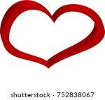 d red heart valentine love... | Shutterstock .eps vector #752838067