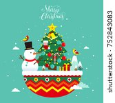 flat style christmas greeting... | Shutterstock .eps vector #752843083