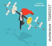 business protection flat ... | Shutterstock .eps vector #752852317