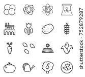 thin line icon set   atom core  ... | Shutterstock .eps vector #752879287