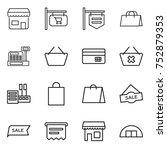 thin line icon set   shop ... | Shutterstock .eps vector #752879353