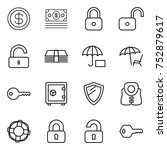 thin line icon set   dollar ... | Shutterstock .eps vector #752879617